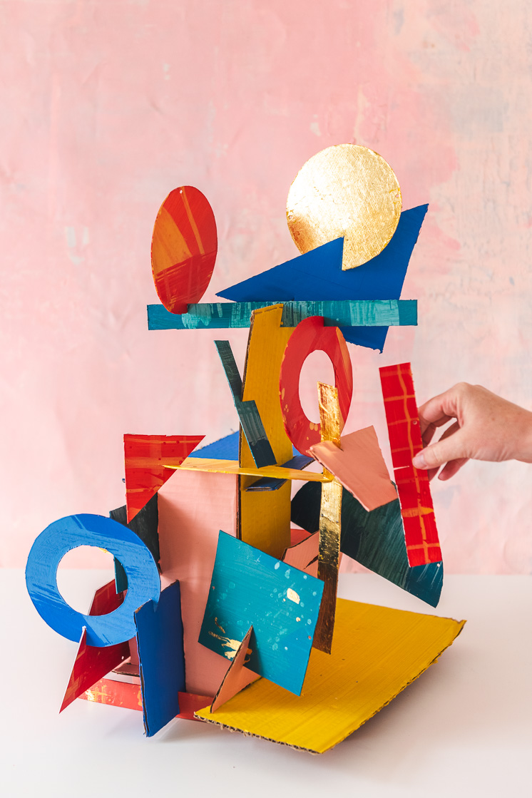 DIY geometric cardboard piece tower