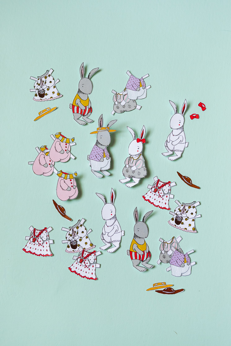 Bunny and chick paper dolls