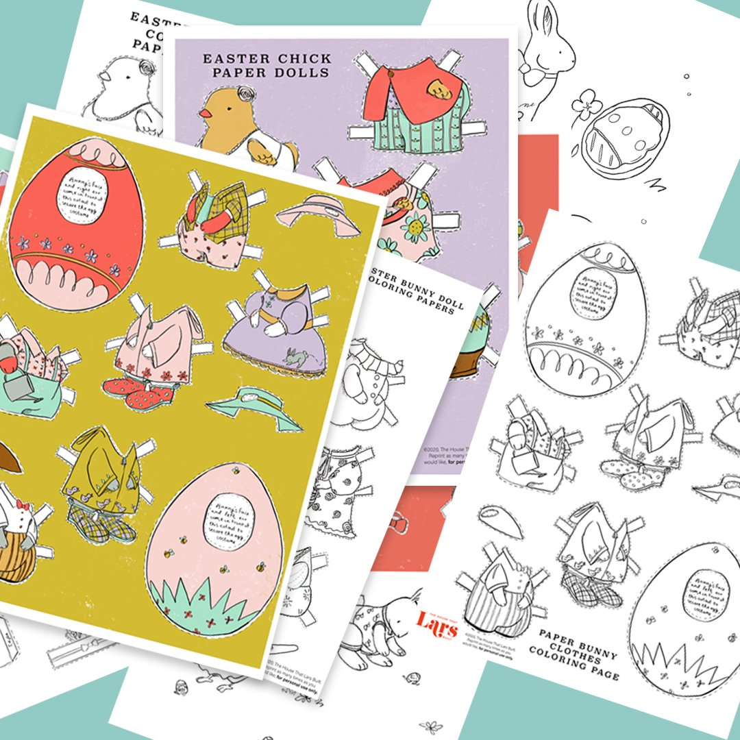 Easter paper dolls and coloring pages activity pack