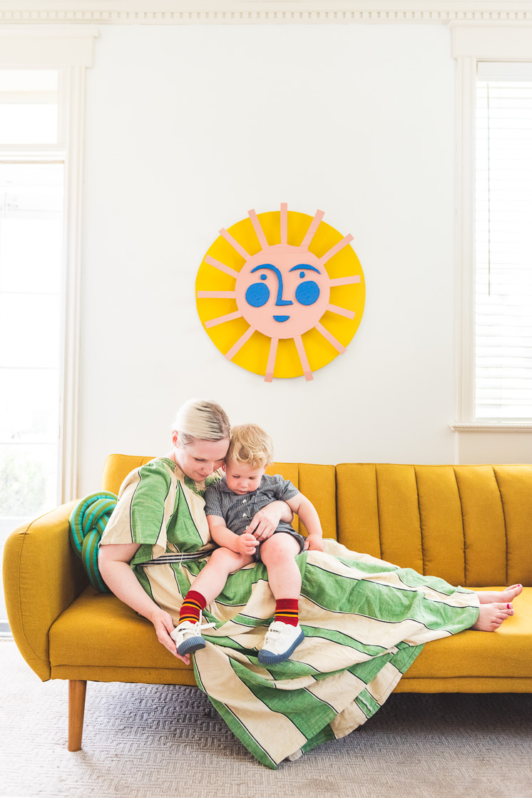 make a cardboard sun with recycled materials