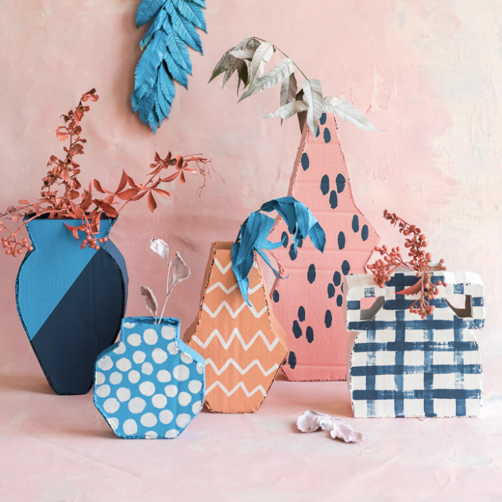 DIY cardboard vases for creative crafts while social distancing