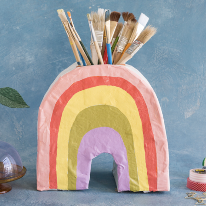 DIY paper mache rainbow vase