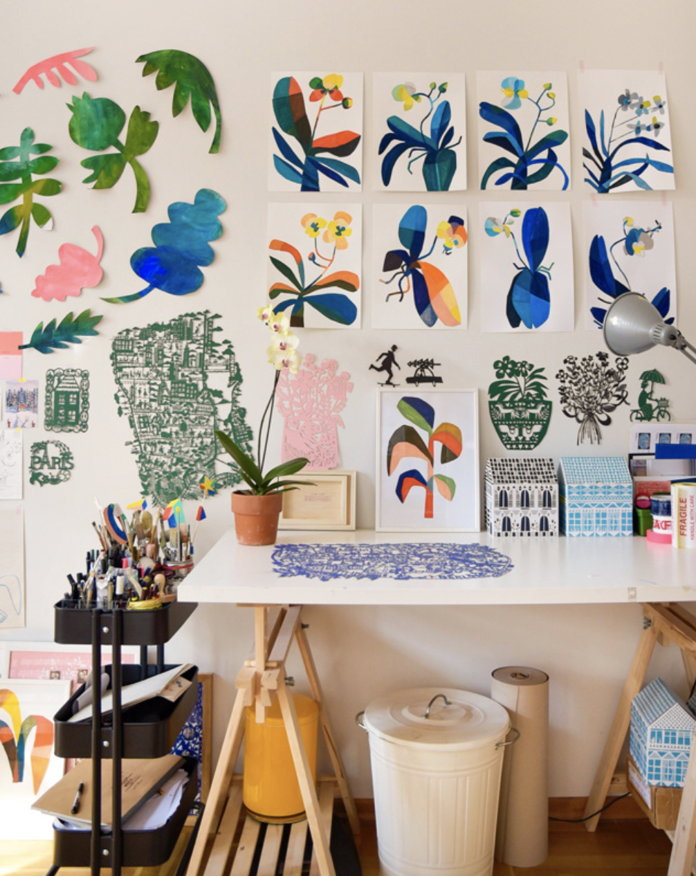 French papercut artist Julie Marabelle's art studio