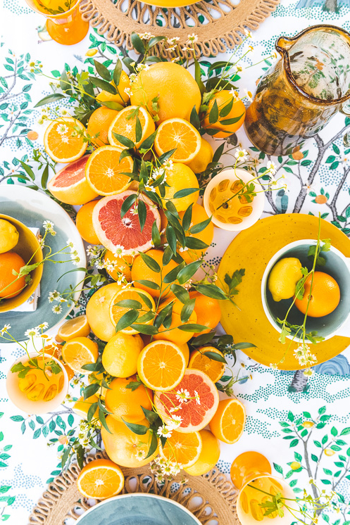 When Life Hands You Lemons care package and tablescape with Spoonflower