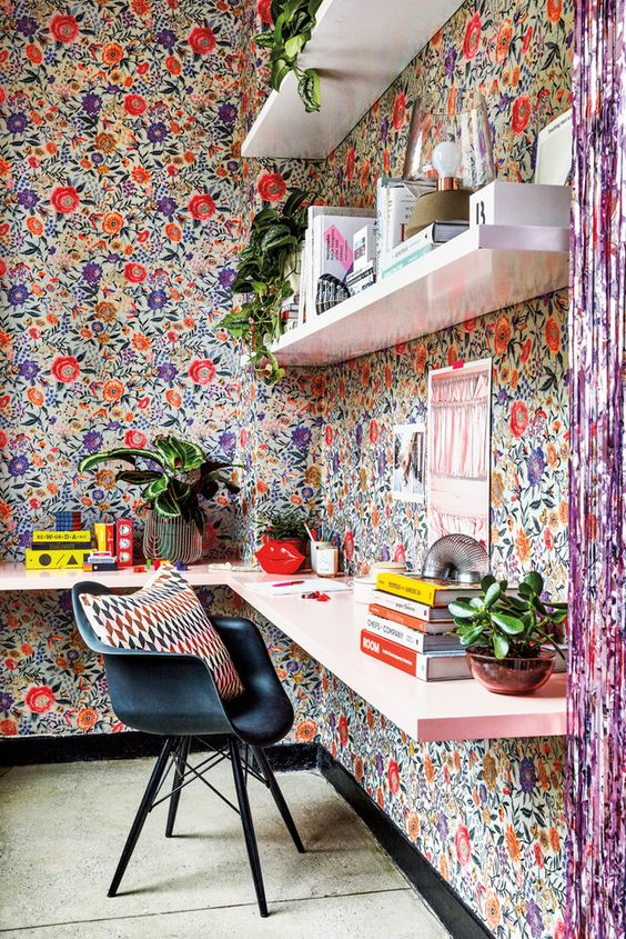 a bright and happy home office