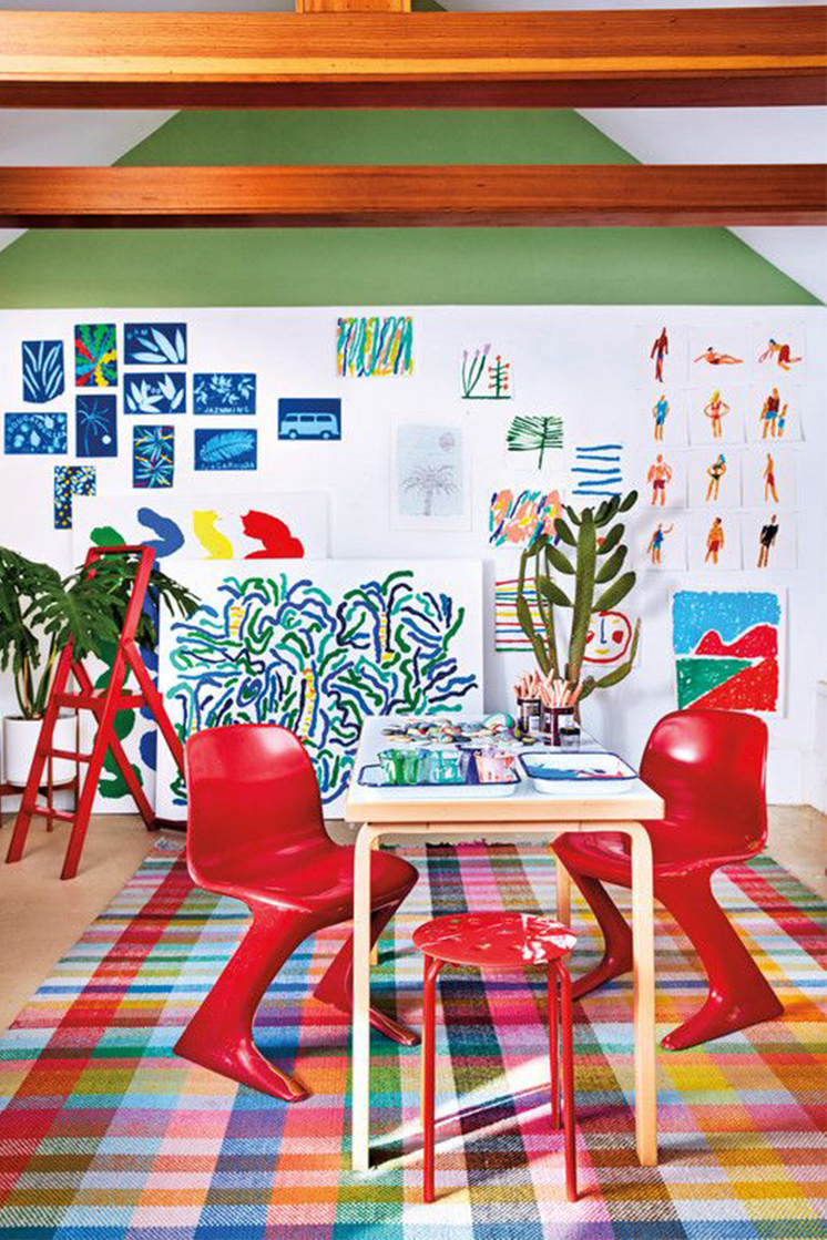 a bright and exciting home office