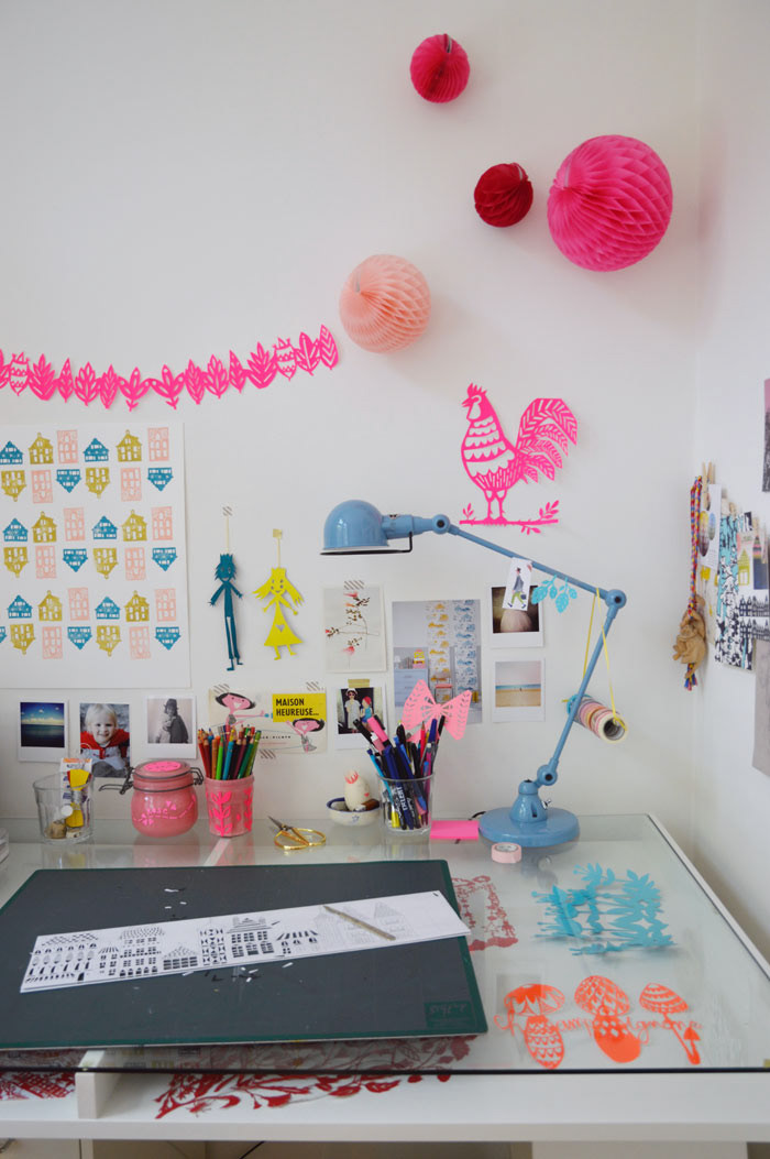 Papercut art studio and home office of Julie Summerbelle
