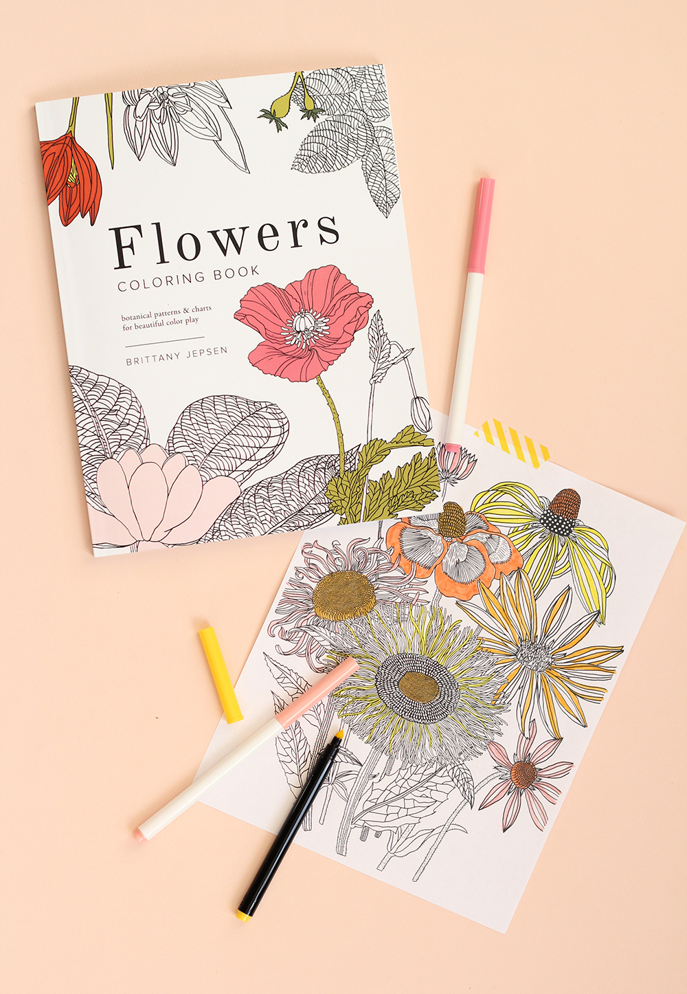 Stree Relief coloring book for adults flowers and cactus