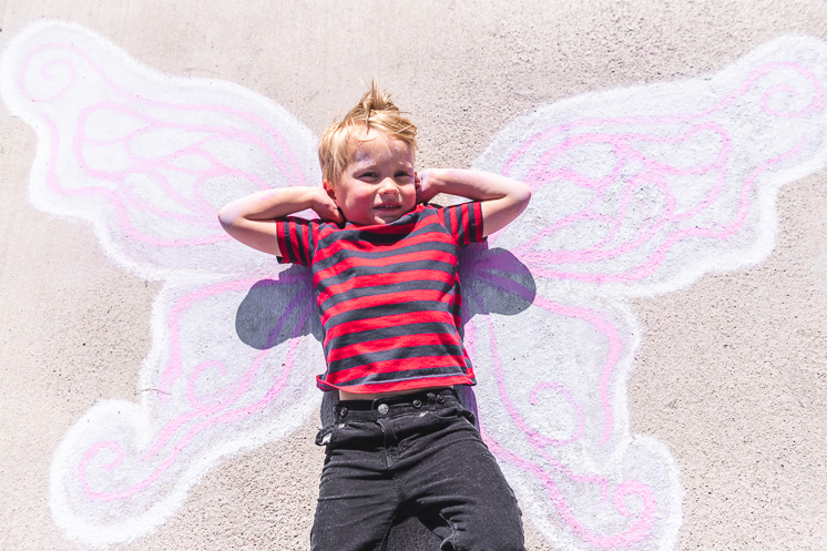 draw butterfly wings on your sidewalk