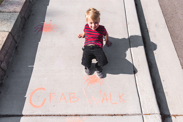 draw a crab walk on your sidewalk