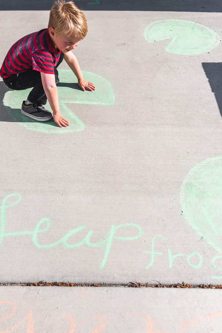 draw a leap frog on your sidewalk