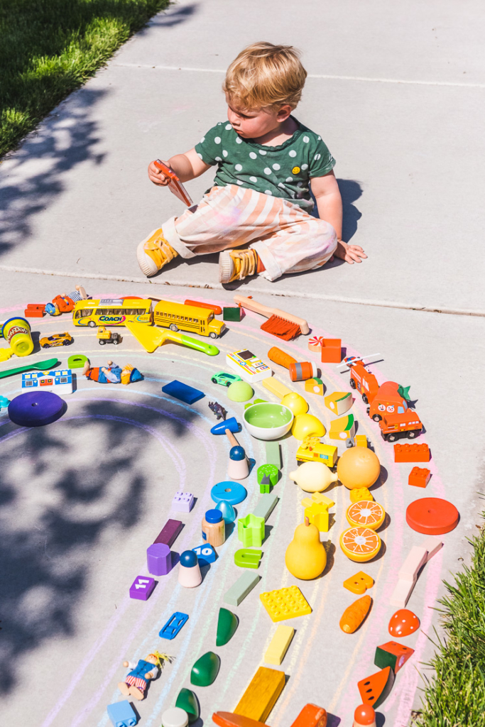 color match your toys to the rainbow with sidewalk chalk