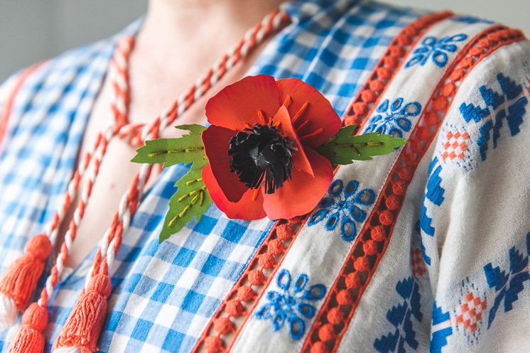 DIY paper poppy pin for memorial day