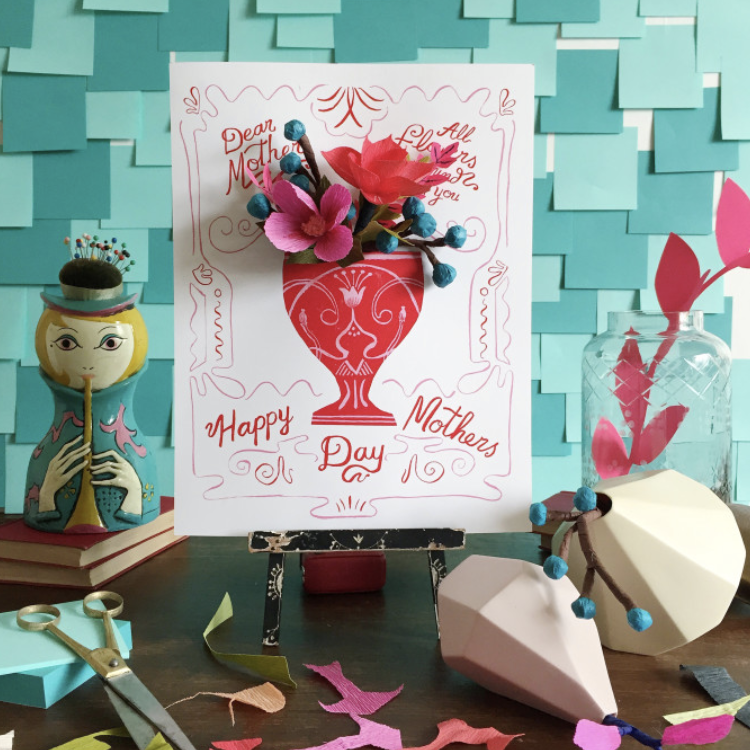 Mother's day gifts card with paper flowers