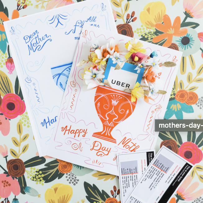 Mother's day gifts card with gift card and paper flowers