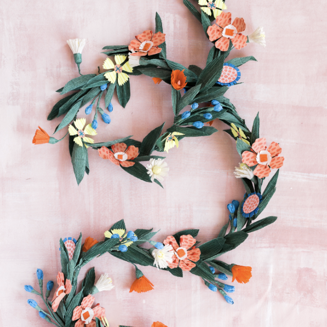 paper summer garland for DIY summer party decor
