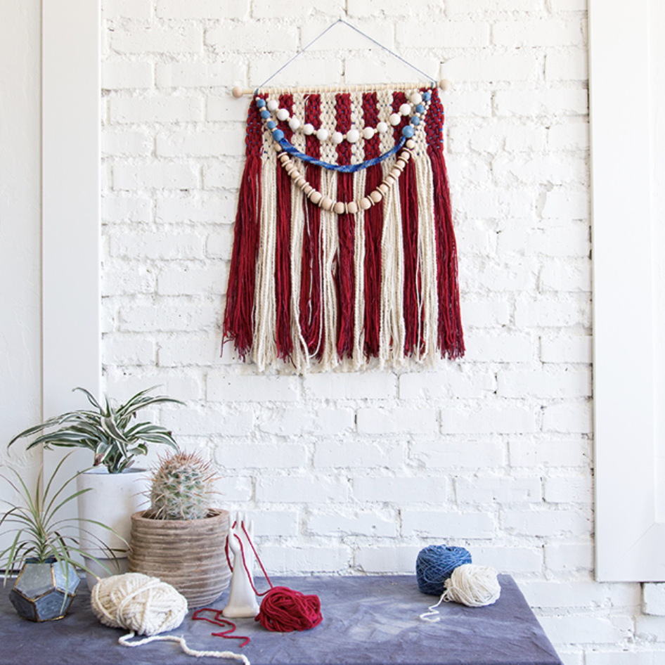DIY weaving 4th of july red white and blue wall hanging decor Creative hobbies to try when you are feeling uninspired