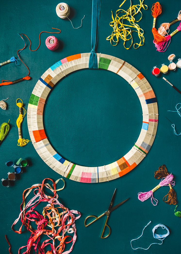 Crafts involving repetition to relieve anxiety embroidery thread color block wreath