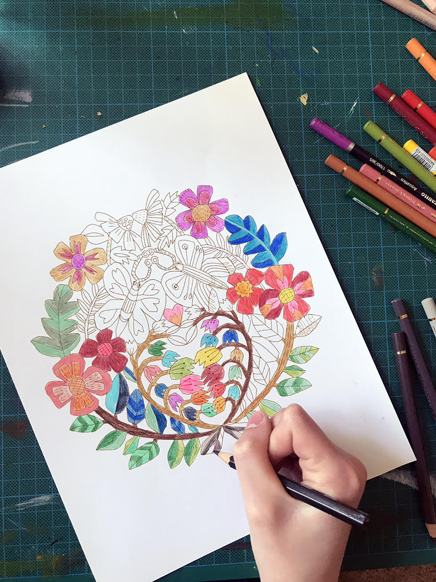 floral botanical folk art coloring pages