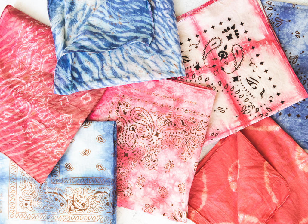 red white and blue tie dye bandanas arranged on a surface