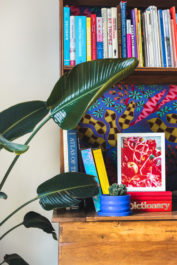 a photo by chaunte vaughn in a bookshelf surrounded by colorful books.