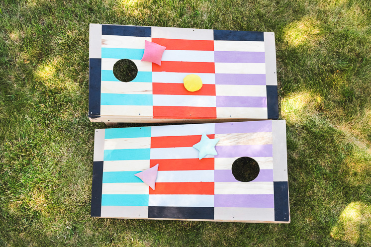 DIY painted cornhole set