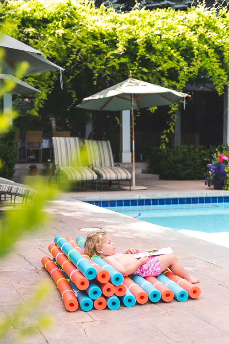 DIY pool noodle recliner