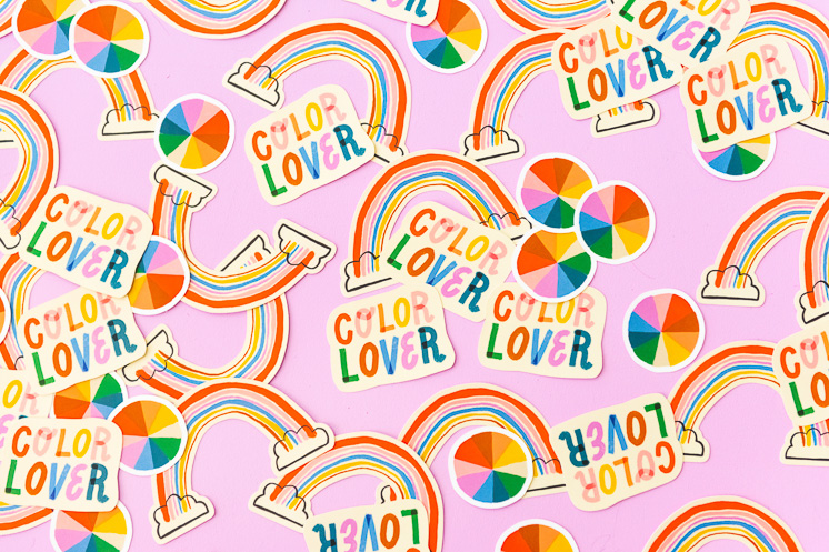 colorful stickers rainbow sticker color lover sticker color wheel sticker The House that Lars Built sticker shop