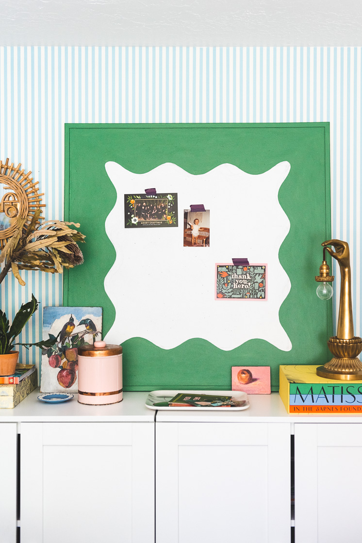 DIY bulletin board painted