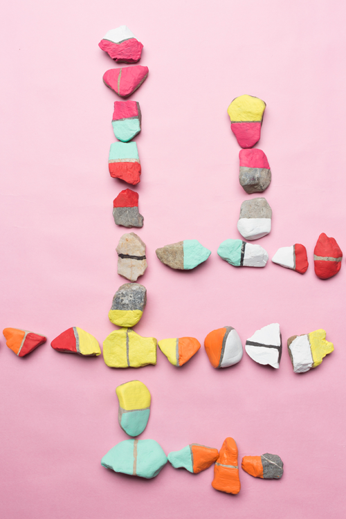 glamping DIY - painted rock dominos