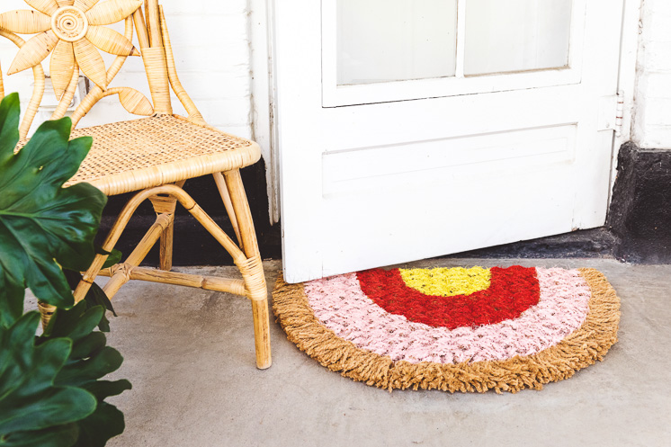 DIY rainbow doormat inspired by the new Peacock show Five Bedrooms