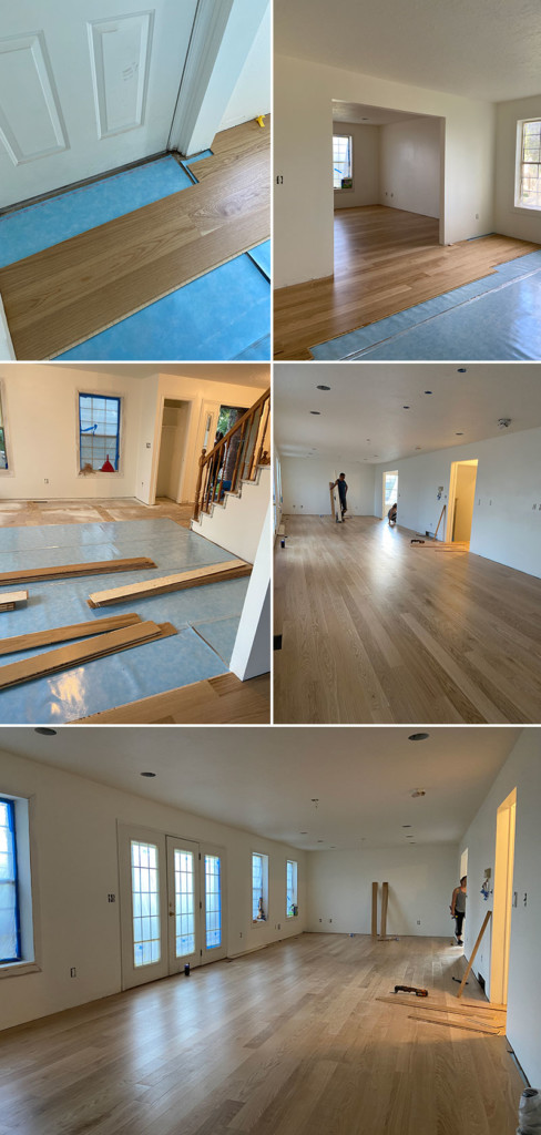 process photos of Stuga flooring installation