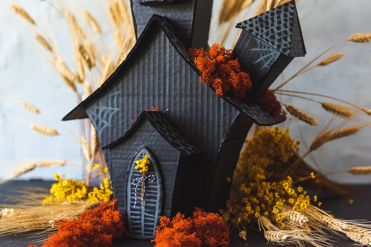 Cardboard Haunted House for recycled holiday decor