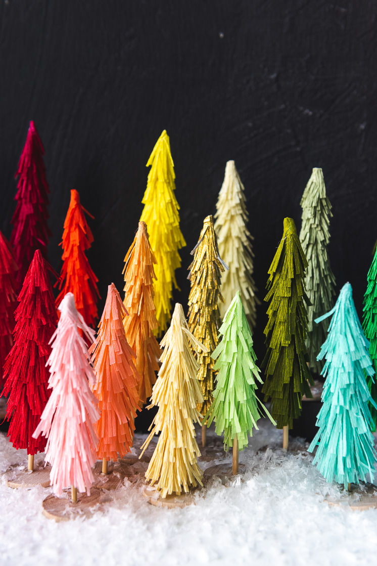 Christmas Decor Kit + Virtual Workshop: Crepe Paper Bottle Brush Trees