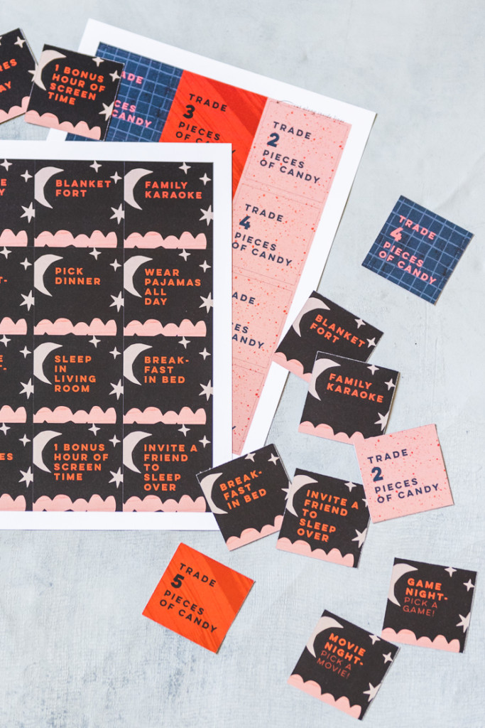 halloween coupons in pink, red, blue, and black.