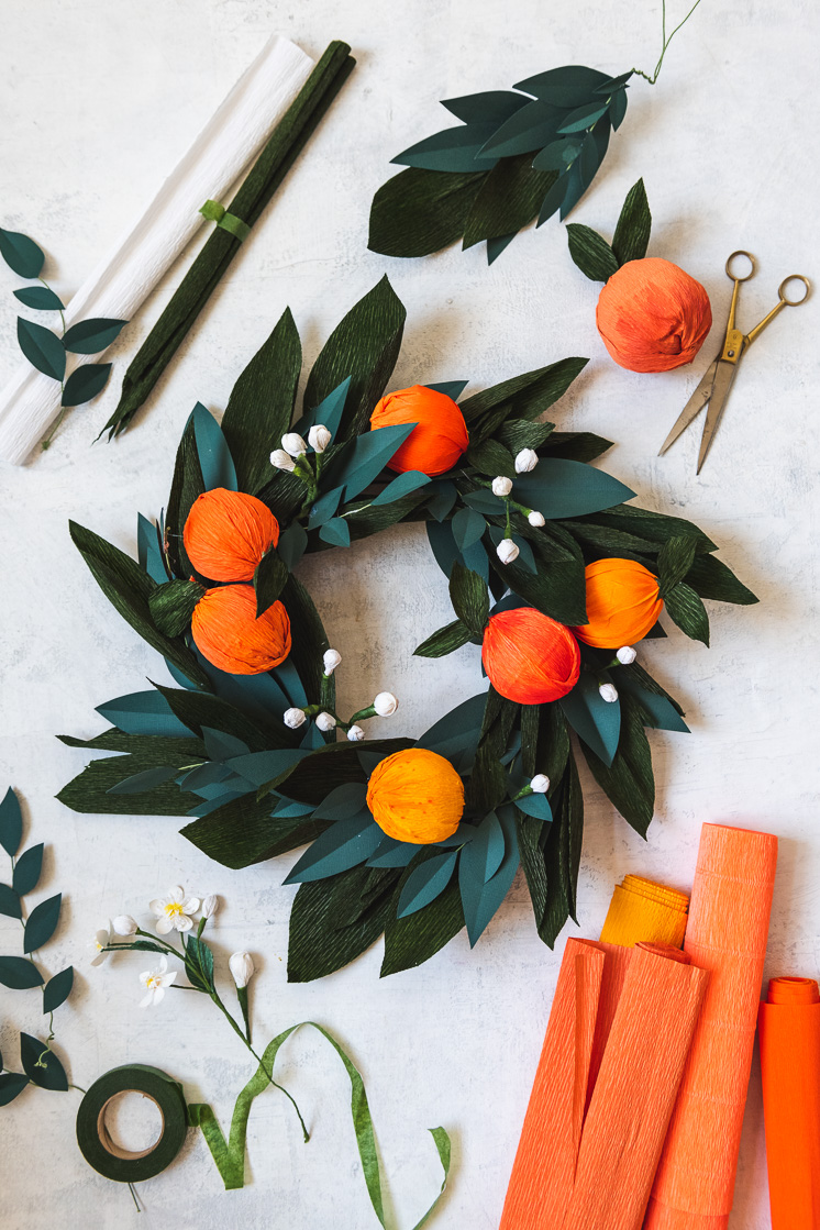 DIY Orange Winter Berries Christmas Wreath Kit