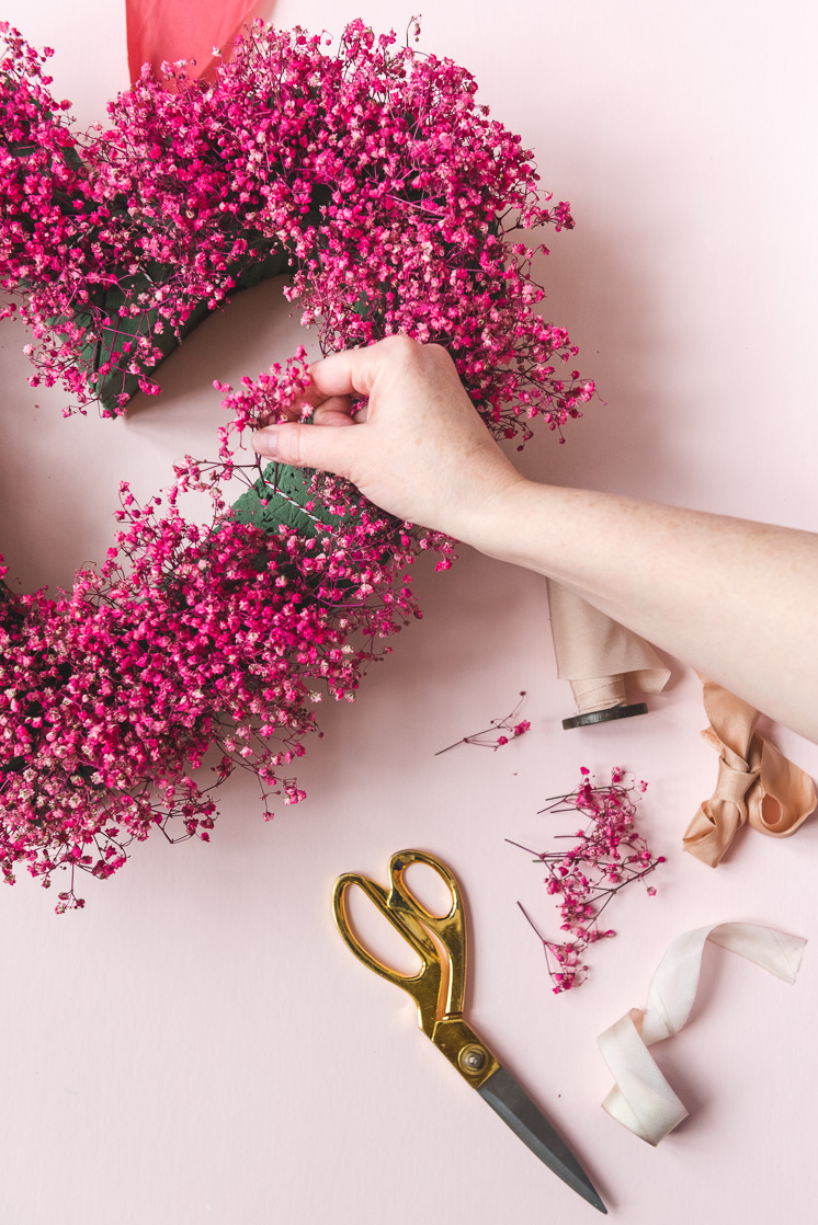 alternatives to floral foam with pink heart baby's breath wreath