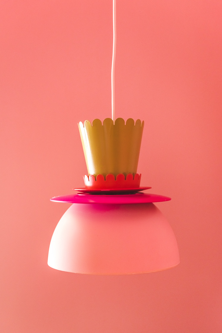 pink and yellow DIY lamp made from plates and bowls