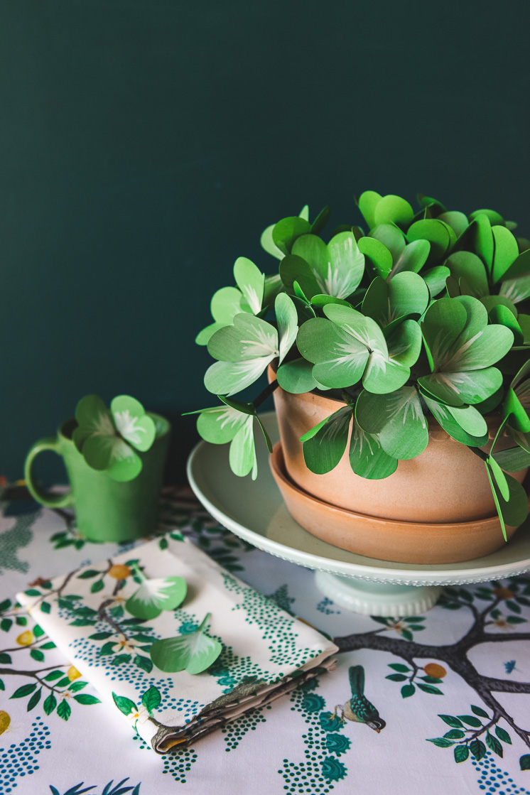alternative to floral foam with DIY paper shamrock on a table