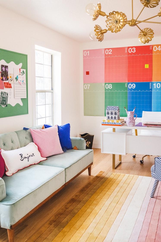rainbow calendar blue futon