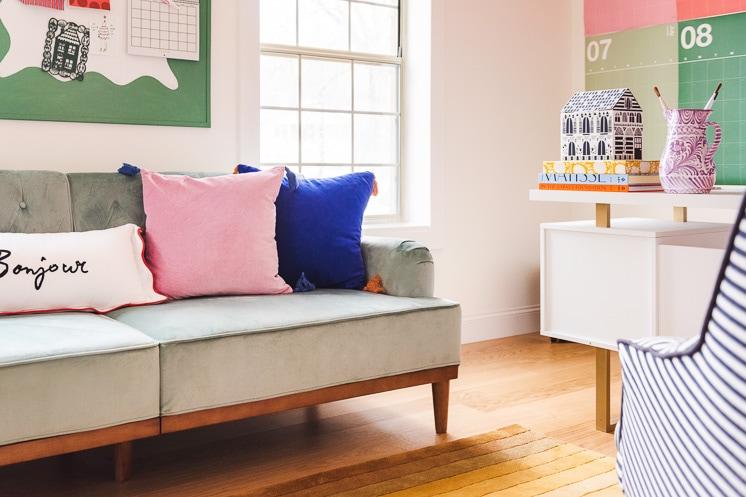 blue velvet futon sofa