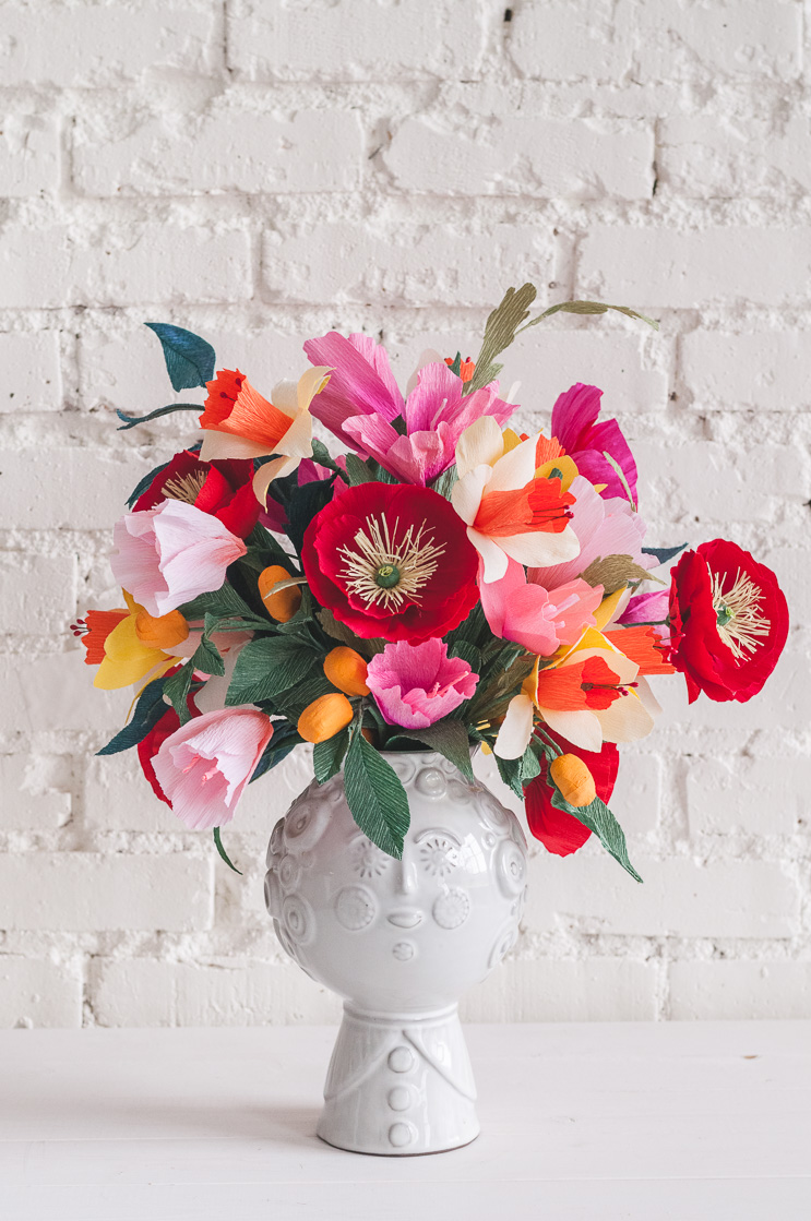 brightly colored paper bouquet
