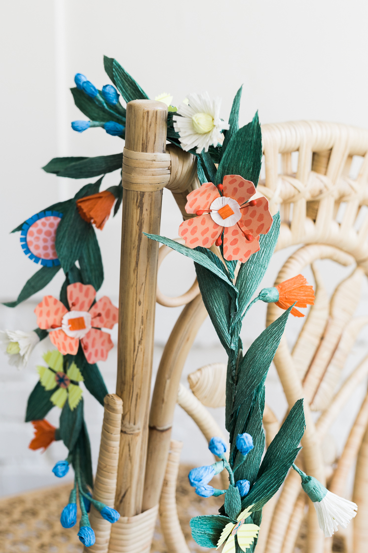 Floral garland draped over a chair