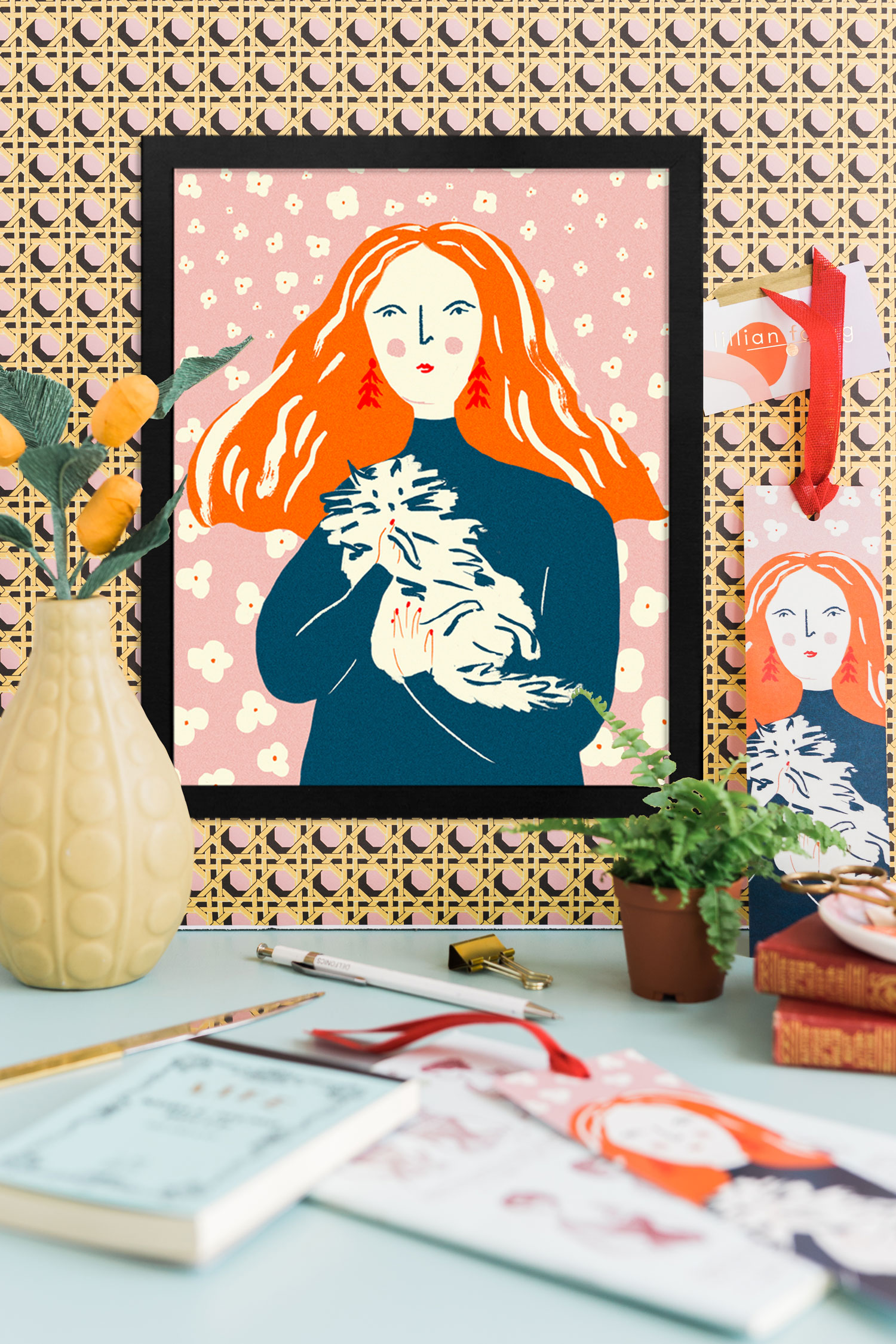 Portrait of Grace Coddington by Josefina Shargorodsky among paper and real plants on a patterned wall