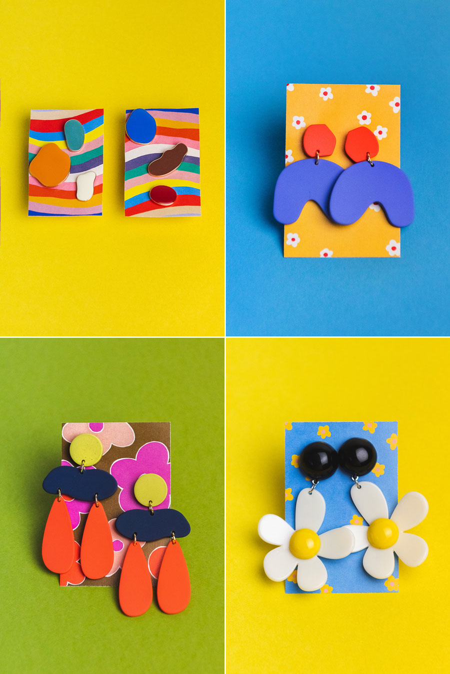 fun abstract and floral shaped earrings