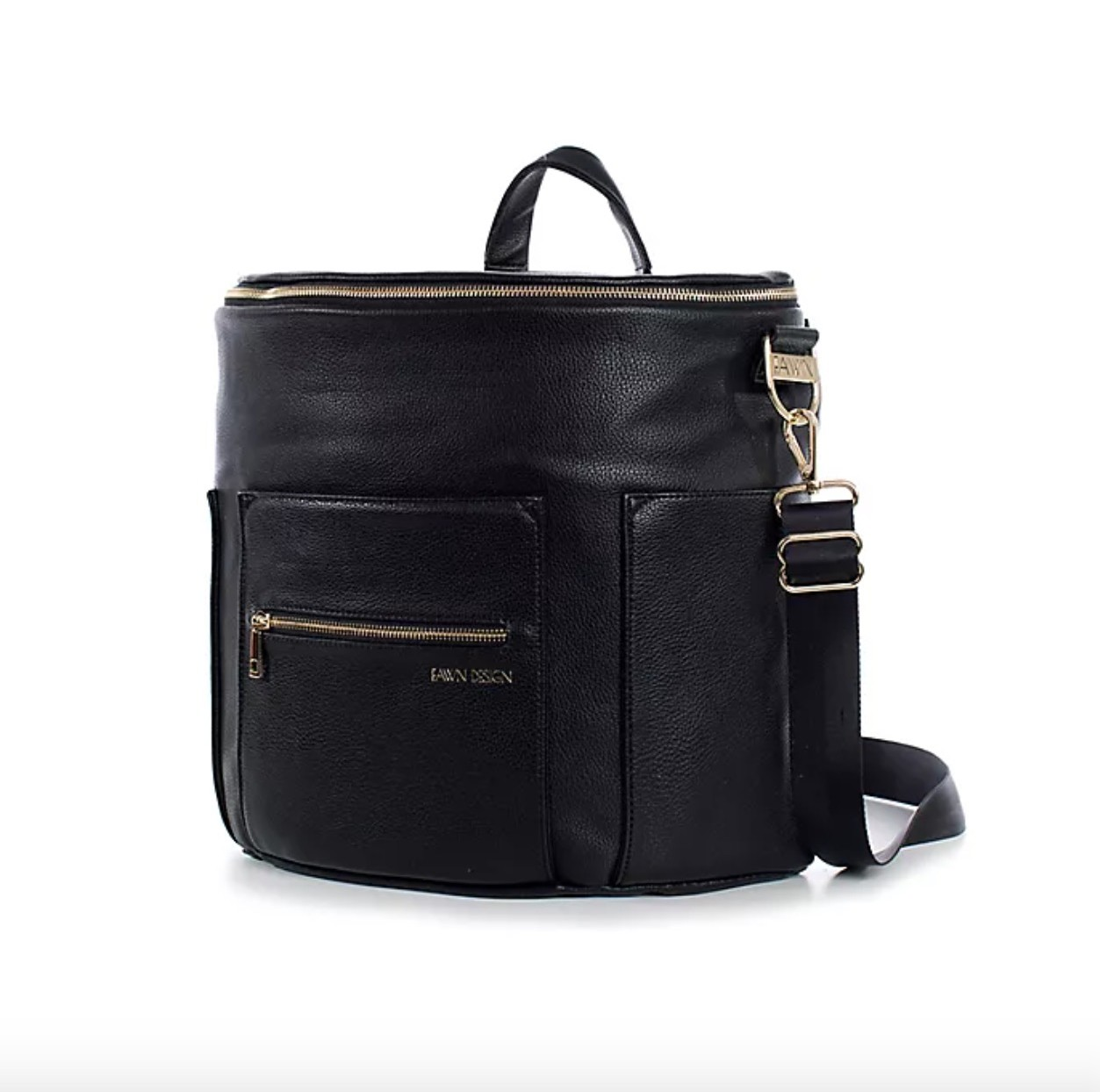 A Black leather diaper bag on a white background