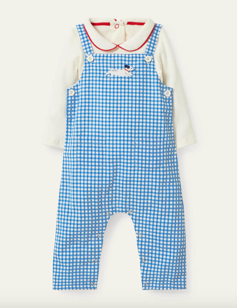 gingham overall outfit with an embroidered dog