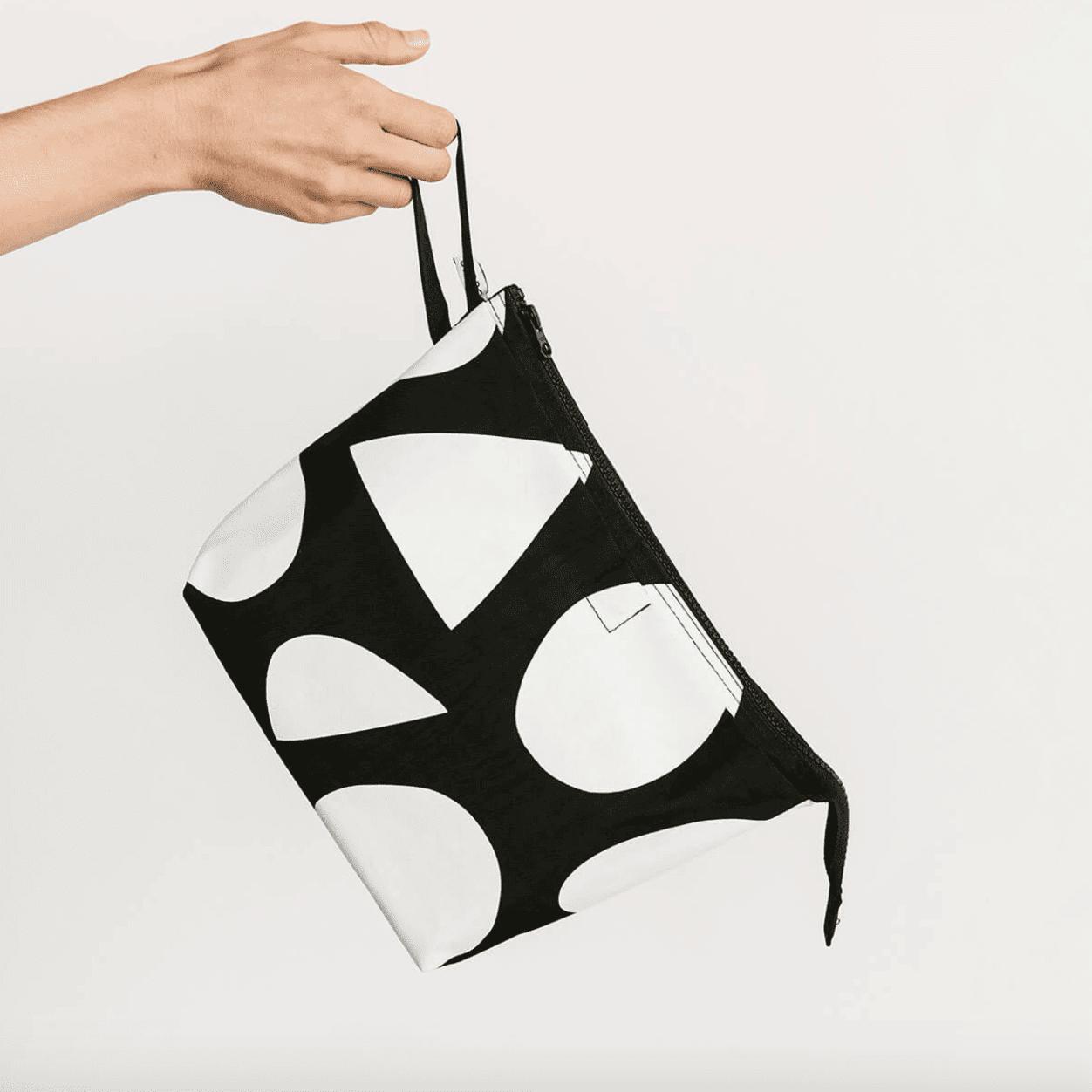 Black and white zipper diaper bag pouch