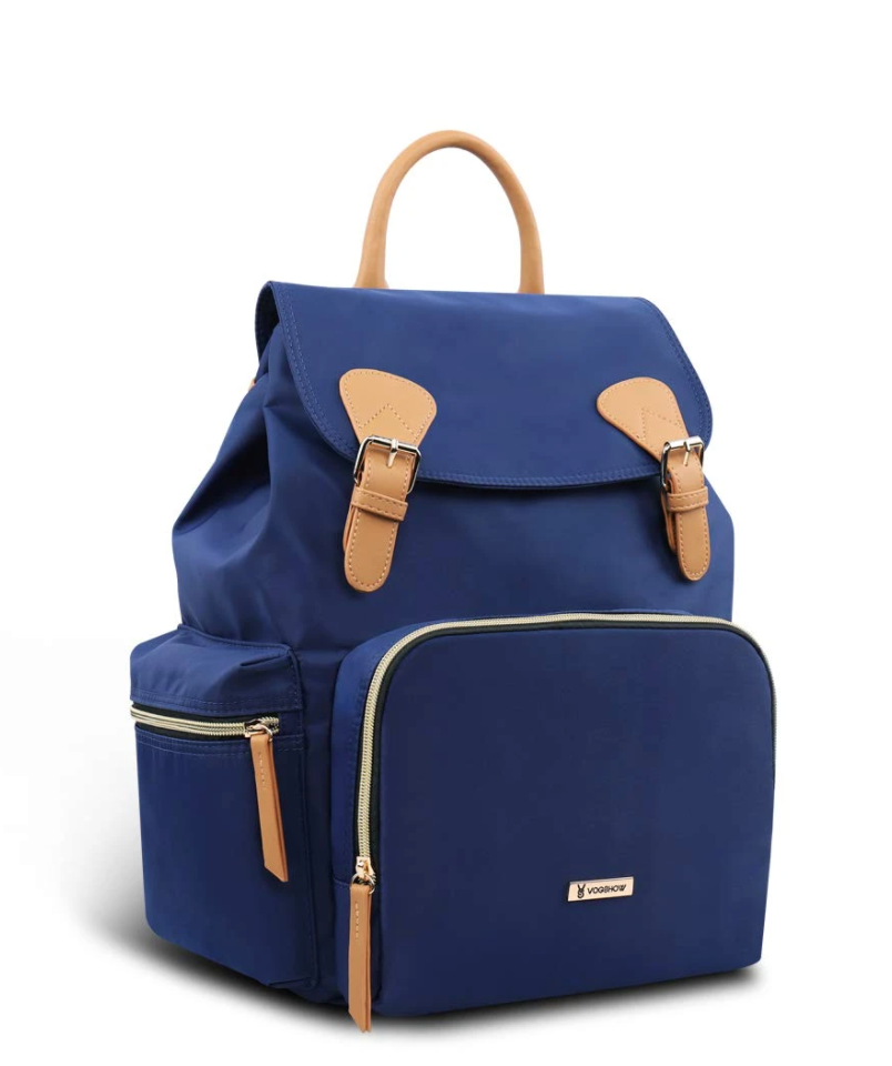 Blue waterproof vogshow backpack diaper bag with caramel-colored details on a white background.