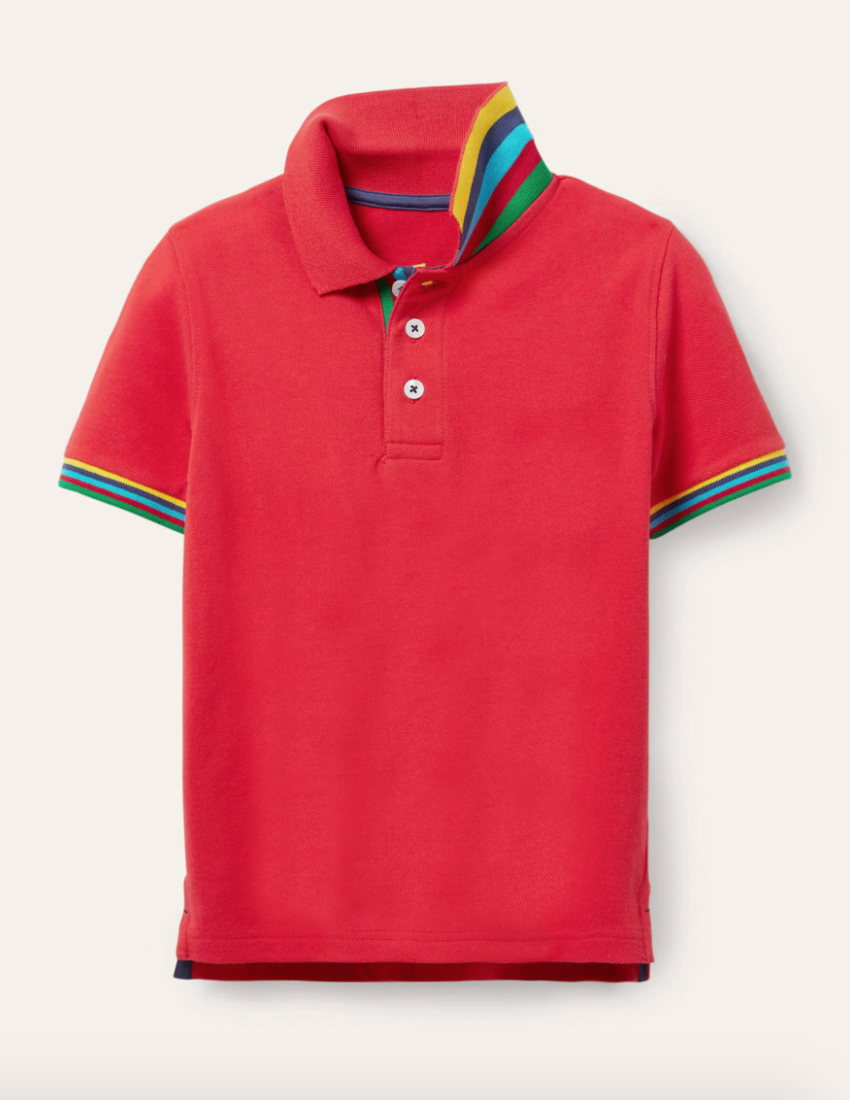 Red pique edge polo shirt with rainbow detailing